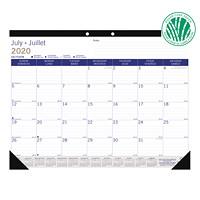 Blueline DuraGlobe Sugar Cane Academic 13-Month Desk Pad Calendar, 22