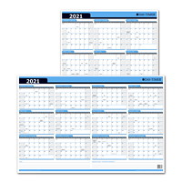 Day-Timer 12-Month Flexible Dry-Erase Reversible Monthly Wall Planner Calendar, 24