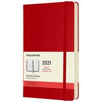Agenda quotidien Moleskine, 81/4po x 5po, rouge, 12 mois (janvier 2021 à décembre 2021), anglais