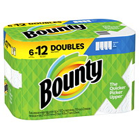 Bounty 2-Ply Select-A-Size Paper Towels 6=12, White, 110 Sheets/RL, 6/PK