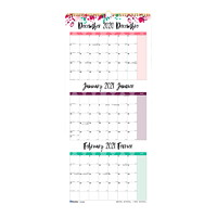 Blueline 14-Month With 3-Month View Wall Calendar, Floral Design, 12 1/4