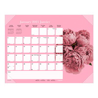 Blueline Pink Ribbon 12-Month Monthly Desk Pad, 22