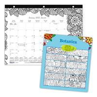 Blueline Botanica 12-Month Monthly Colouring Desk Pad Calendar, 11