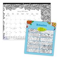 Blueline Botanica 12-Month Monthly Colouring Desk Pad Calendar, 22