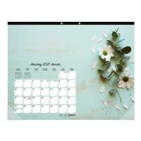 Blueline Romantic 12-Month Monthly Desk Pad Calendar, 22