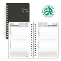 Agenda quotidien en papier à base de canne à sucre DuraGlobe Blueline, 8po x 5po, noir, janvier 2021 à décembre 2021, bilingue