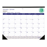 Blueline DuraGlobe Sugar Cane 12-Month Monthly Desk Pad Calendar, 22