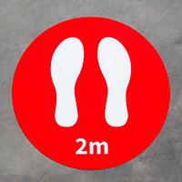 Autocollants de plancher de distanciation sociale Onyx + Blue, 2m et pieds, emb. de 6