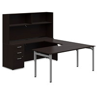 Ensemble de bureau en U de 72 po Ionic Offices to Go expresso foncé