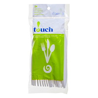 Touch Plastic Cutlery, Assorted Forks, Spoons, Knives, White, 24/PK
