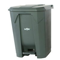 Globe Commercial Products Step-On Waste Container, Grey, 68 L