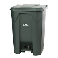 Globe Commercial Products Step-On Waste Container, Grey, 50 L