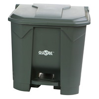 Globe Commercial Products Step-On Waste Container, Grey, 30 L
