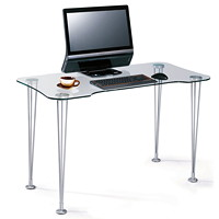 Star Quality Kumo Series Writing Desk, Glass/Silver, 47 1/5