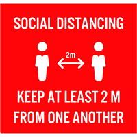 Extensions pour porte-nom de distanciation sociale Sterling, anglais, Social Distancing, blanc sur fond rouge, 23/4pox 23/4po , emb. de 10