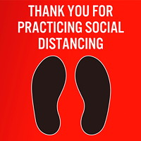 Sterling Social Distancing Carpet Decal, English, Thank You For Practicing Social Distance, Black/White on Red, 12