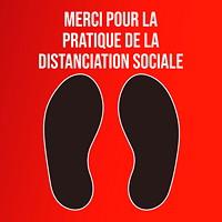 Autocollant de sol de distanciation sociale Sterling, français, Merci pour la pratique de la distanciation sociale, noir et blanc sur fond rouge, 12po x 12po
