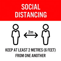 Sterling Social Distancing Floor Decal, English, Keep At Least 2 Metres From One Another, Black/Red/White, 12