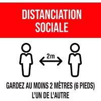 Autocollant de sol de distanciation sociale Sterling, français, Distanciation sociale - Gardez au moins 2mètres (6pieds) l'un de l'autre, noir et blanc sur fond rouge, 12po x 12po