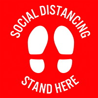 Sterling Social Distancing Floor Decal, English, Stand Here, White on Red, 12