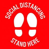 Autocollant de sol de distanciation sociale Sterling, anglais, Stand Here, blanc sur fond rouge, 12po x 12po