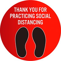 Sterling Social Distancing Floor Decal, English, Thank You For Practicing Social Distance, Black/White on Red, 12