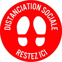 Sterling Social Distancing Floor Decal, French, Restez Ici, White on Red, 12