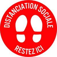 Autocollant de sol de distanciation sociale Sterling, français, Restez ici, blanc sur fond rouge, 12po