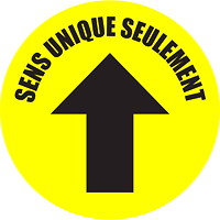 Autocollant de sol de distanciation sociale Sterling, français, Sens unique seulement avec flèche, noir sur fond jaune, 12po