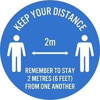 Sterling Social Distancing Floor Decal, English, Keep Your Distance - Remember to Stay 2 Metres From One Another, White on Blue, 12