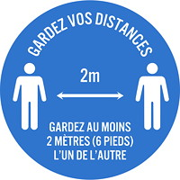 Sterling Social Distancing Floor Decal, French, Gardez Vos Distances - Gardez Au Moins 2 Mètres L'Un De L'Autre, White on Blue, 12