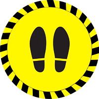 Autocollant de sol de distanciation sociale Sterling, paire de pieds, noir sur fond jaune, 12po