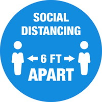 Sterling Social Distancing Floor Decal, English, Social Distancing 6 FT Apart, White on Blue, 12