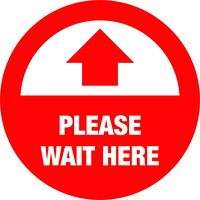Autocollant de sol de distanciation sociale Sterling, anglais, Please Wait Here, blanc sur fond rouge, 12po