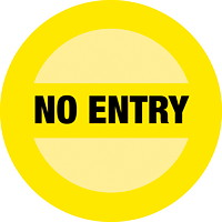 Sterling Social Distancing Floor Decal, English, No Entry, Black on Yellow, 12