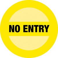 Autocollant de sol de distanciation sociale Sterling, anglais, No Entry, noir sur fond jaune, 12po