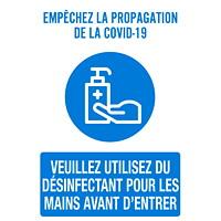 Affiche de distanciation sociale repositionnable en vinyle Sterling, pour le verre, face avant adhésive, français, Emp?™chez la propagation de la Covid-19, 12po x 18po