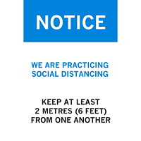 Sterling Re-Stick Cling Vinyl Social Distancing Sign, For Glass, Adhesive Front, English, Notice - We are Practicing Social Distancing, Blue/White/Black, 12
