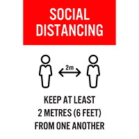 Sterling Re-Stick Cling Vinyl Social Distancing Sign, Adhesive Back, English, Social Distancing, Black/Red/White, 12