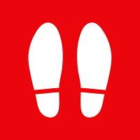 Autocollant de sol de distanciation sociale Sterling, paire de pieds, blanc sur fond rouge, 12po x 12po