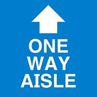 Autocollant de sol de distanciation sociale Sterling, anglais, One Way Aisle avec flèche, blanc sur fond bleu, 12po x 12po