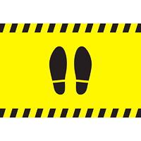 Autocollant de sol de distanciation sociale Sterling, paire de pieds, noir sur fond jaune, 12po x 18po