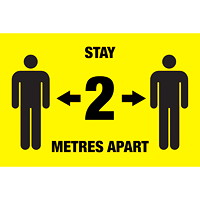 Sterling Social Distancing Floor Decal, English, Stay 2 Metres Apart, Black on Yellow, 12