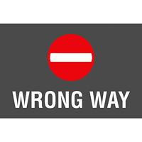 Autocollant de sol de distanciation sociale Sterling, anglais, Wrong Way, blanc sur fond noir et rouge, 12po x 18po