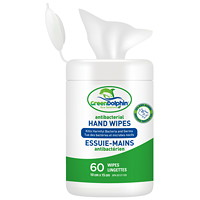 Green Dolphin Antibacterial Hand Sanitizing Wipes, 75% Ethyl Alcohol Content, 60/PK