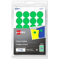 Avery 2344 Non-Printable Removable Colour-Coding Labels, Green, 3/4