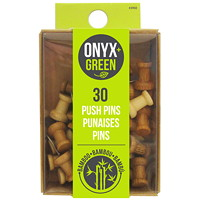 Onyx+ Green Bamboo Pushpins, 30/PK