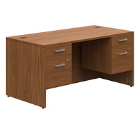 Offices To Go Ionic Double-Pedestal Desk, Winter Cherry, 66
