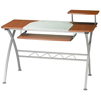 Safco Eastwinds Vision Computer Desk, White-Backed Clear Glass with Medium Cherry Finish