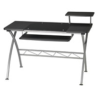 Safco Eastwinds Vision Computer Desk, Smoked Black Glass with Anthracite Finish
